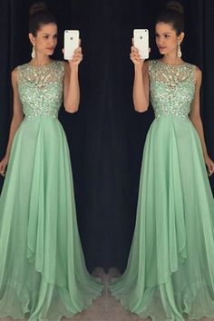 Mint Green Long Chiffon Beading Prom Dress With Open Back