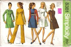 Vintage Simplicity's  Mad Men Style Misses' Tissue Dress Tunic Pants  Pattern 8381 Size 16 circa 1969 by EvaStAlbans on Etsy