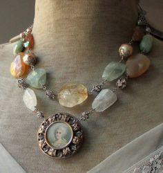GEORGIAN BEAUTY - antique assemblage necklace with portrait pendant gemstones marie antoinette 18th century style cameo by the french circus  $245.00 USD