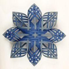 Lg Woodland Woven Star Ornament Snowflakes Cherokee Holy Cross Blues