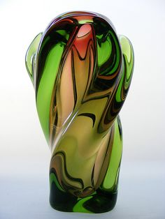 Bohemian sculptural glass vase