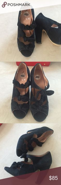 """Anthropologie at its best Beautiful and unique black suede heels by Lucky Penny and sold by Anthropologie. Three suede knotted ties in the front. Ultra soft suede. 4"""" curved heel and 1/2"""" platform. New condition and without flaws. Anthropologie Shoes Heels"""