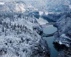 冬の只見川(福島) Tadamigawa river in winter, Fukushima, Japan