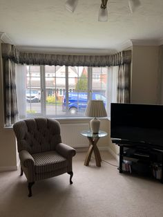 made to measure curtains made for our clients beautiful homes for more info email amanda@amandabakersofturnishings.co.uk Bay Window Curtains, Pelmets, Made To Measure Curtains, Roman Blinds, Soft Furnishings, Beautiful Homes, Amanda, Cushions, Windows