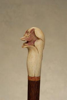 A very nice whalebone fox cane : Lot 92 Walking Sticks, Single Piece, Fox, Bird, Canes, Antiques, Handle, Animals, Walking Staff