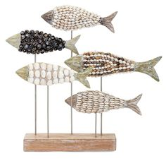 Tilden Mosaic Shell Fish Statuary Sculpture by Wayfair Coastal Cottage, Coastal Homes, Coastal Style, Modern Coastal, Seaside Decor, Coastal Decor, Coastal Lighting, Coastal Chandelier, Coastal Rugs