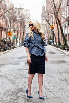 spring / summer - street chic style - casual style - office wear - work outfit - party style - black pencil skirt + denim kimono jacket + brown fringe crossbody bag + deep blue stilettos + black sunglasses