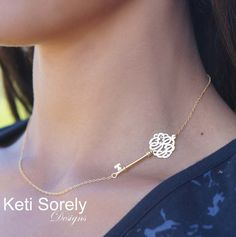 Celebrity Style Sideways Key Necklace with Monogram Initials -  24K Gold with Sterling Silver or Solid 10K/14K Gold