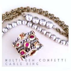 •MuLTi-Gem ConFeTTi CabLe 5 Band SiLver Ring• •MuLTi-Gem ConFeTTi CabLe 5 band SiLver Ring• Brand New •Never Worn. Gorgeous CoLored Gems outlined in GoLd. SiLver & Gold PlaTed Base MeTaLs. Chunky Shiny SiLver Layered Cable Base. Adjustable. High QuaLiTy. Super STyLisH. ToTaL STaTemenT Piece. Unique & Chic•. Looks just like David Yurman Style ring. Jewelry Rings