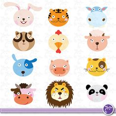 Wild Animals Clip Art, Cute animals, Jungle Animals, Farm animal, tiger, lion, Dog ,Hippo. Scrapbook, Cards, Invitations,Paper Craft Am004