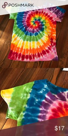 🌈 Tie dye tee Rainbow colorful tie dye t shirt. California hippie cool beach vibes. Hand dyed from etsy. Like new. Not Pacsun PacSun Tops Tees - Short Sleeve