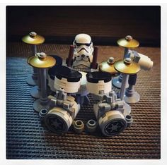 Lego Drum Kit - ummm, isn't that one of the Star Wars storm troopers sitting on the #drummer stool?! #cSw:) - https://www.pinterest.com/claxtonw/humor-pics/ - HUMOR PICS for musicians. Pinned via Alex Kimmell.