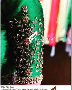 No photo description available. Hand Work Blouse Design, Simple Blouse Designs, Stylish Blouse Design, Designer Blouse Patterns, Fancy Blouse Designs, Blouse Neck Designs, Blouse Styles, Kerala Saree Blouse Designs, Wedding Saree Blouse Designs