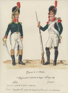 Line Infantry, Germany 1807 Grenadier Officer & Grenadier Kingdom Of Naples, Kingdom Of Italy, First French Empire, Italian Army, National History, Army Uniform, Naples Italy, French Revolution, Napoleonic Wars