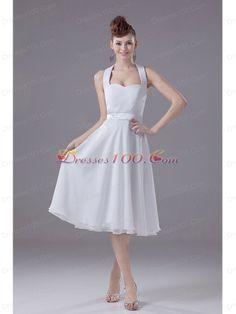White Halter Empire Chiffon Tea-length Bridesmaid Dress