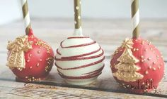 Vintage Christmas Cake Pops Red and Gold! Carmen's Sweet Creations