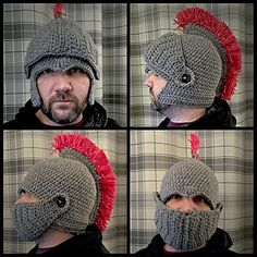 Items similar to Crochet Roman soldier hat on Etsy Crochet Mask, Crochet Beanie, Crochet Gifts, Knitted Hats, Flip Flop Boots, Diy Wig, Crochet Costumes, Roman Soldiers, Crazy Hats