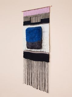 Brook & Lyn Art/Objects  BLUE AND GRAY SQUARE, handwoven by Mimi Jung in Los Angeles.