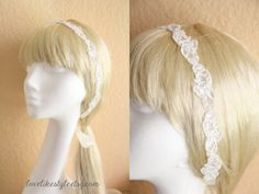 Skinny Ivory sequined Lace Head Band, Ivory Head Tie, Head Piece, Bridal Hair Accessories, Bridesmaid Headband on Etsy, $20.00