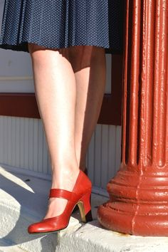 Red vintage shoes. I feel like I need a pair of shoes like this for my internship.