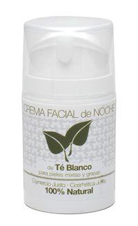 Crema facial de noche Té Blanco. 50 ml. Producto certificado 100% natural Indicado para el tratamiento nocturno de la piel, regularizando el exceso de grasa y eliminando brillos. Con extractos de plantas vegetales.