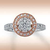 platinum and rose gold engagement ring