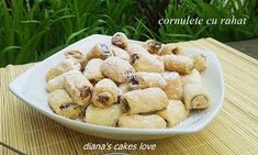 diana's cakes love: Cornulete cu rahat - aluat cu ulei Cereal, Deserts, Vegetables, Cooking, Breakfast, Recipes, Diana, Food, Bakken