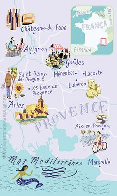 ♡ SecretGoddess ♡ www.pinterest.com/secretgoddess/ Illustrated map of Provence, France | Mundo dos Mapas, Nik Neves + Marina C.