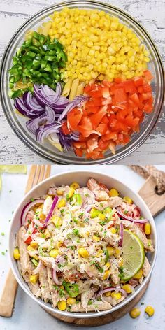 This Mexican Street Corn Pasta Salad is loaded with flavor, made with roasted corn, jalapeno, peppers, and then tossed in a deliciously creamy and irresistible sauce. A quick and easy meatless pasta dish that can be ready in just min Mexican Food Recipes, Vegetarian Recipes, Dinner Recipes, Cooking Recipes, Healthy Recipes, Raw Diet Recipes, Meatless Pasta Recipes, Healthy Breakfast Recipes, Lunch Recipes