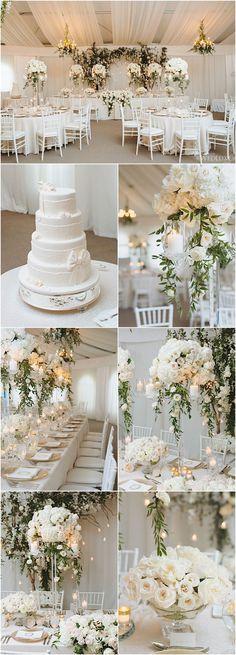 Featured Photographer: Mango Studios; white wedding reception details #weddingflowers