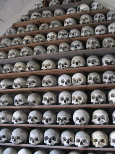 Though the European bone houses are some of the most famous in the world, there are similar charnels in Asia. Located in Biru County in the Nagchu Prefacture. Dead Beautiful, Horror Posters, 11th Century, Vulture, Memento Mori, Skulls, Wall, Bones, Asia