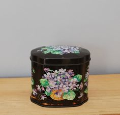 vintage tin with a basket of forget-me-nots by LostPropertyVintage, £8.00