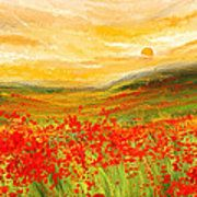 Field Of Poppies- Field Of Poppies Impressionist Painting Poster by Lourry Legarde
