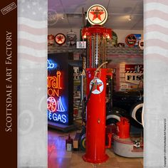 Vintage Gas Pumps Restored Tokheim Visible Texaco Pump - Tokheim 610 visible 10-gallon gas pump fully restored to working condition and museum quality by Scottsdale Art Factory - makes a perfect gift for your Man Cave