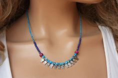 Turquoise Micro Afghan Beads& Tibetian Silver Tulip  Ethnic/Authentic Necklace