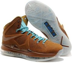http://www.asneakers4u.com Nike Lebron 10 2013 Official Correct Version Brown Blue Running Shoes
