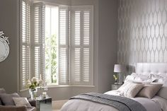 How To Get The Interior Shutters For Windows: Beautiful Window Shutters Design Ideas Bedroom Shutters, Interior Window Shutters, Bedroom Windows, Window Blinds, Small Shutters, White Shutters, Vinyl Shutters, Shutter Blinds, Roller Shutters