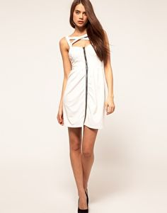 Enlarge Paprika Zip Front Bustier Dress with Cross Straps