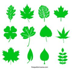 Leaf Silhouette Vectors and Templates | FreePatternsArea
