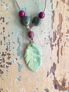Hand made Leaf Clay Ceramic Wooden Vintage Bead Leather by Nordlys, $27.00