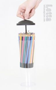 Straw dispenser as colored pencil storage. this is so smart. i think im gonna do this!