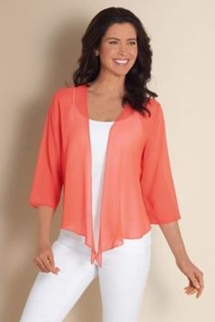 Silk Undercover Top I - Silk Georgette Top, Womens Silk Top Casual Clothing Stores, Clothing Catalogs, Clothing Sets, Chicos Fashion, Shrug For Dresses, Modelos Fashion, Casual Outfits, Fashion Outfits, Women's Casual