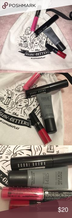 Sephora Makeup Bundle All new, Bobbi brown smokey eye mascara, make up forever equalizer primer, Sephora cream lip stain in rouge, Sephora gel gloss ultra brilliant shine in pin up pink. All deluxe sample size. Draw string bag included. Sephora Makeup