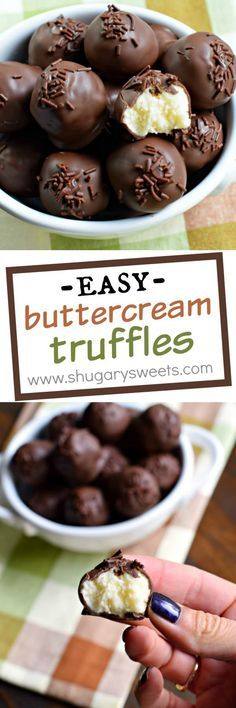 Buttercream Truffles Shugary Sweets these came out of the need to use up extra frosting Now they are the perfect treat to make anytime Fudge Recipes, Candy Recipes, Baking Recipes, Sweet Recipes, Dessert Recipes, Cake Truffles, Cupcakes, Chocolate Truffles, Chocolate Truffle Recipe