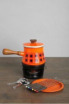 Vintage Orange Fondue Set