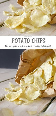 These Homemade Potato Chips are so easy to make. Just potatoes, salt & your microwave is all you need. No oil, better for you, simple & so delicious too. on kleinworthco.com #BeholdPotatoes AD @potatogoodness