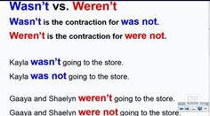"""Grammar Video Lesson - Grade 4 - How to use """"weren't"""" and """"wasn't"""". #tvokids"""