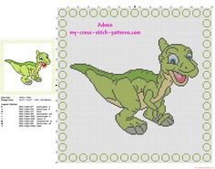 Cross stitch pattern baby pillow with Ducky from The land before time cartoons