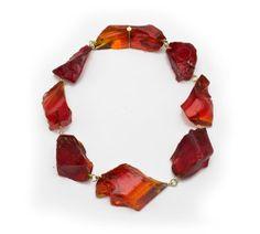 Philip Sajet - Necklace. Glass, gold