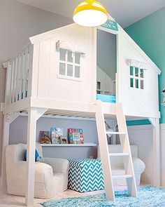 Tree house bed with reading nook underneath. Tree House Bed via House of Turquoise and other totally cool kids bedrooms Dream Rooms, Dream Bedroom, Pretty Bedroom, Magical Bedroom, My New Room, My Room, Room Set, Boys Room Design, Playroom Design
